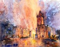 Watercolor painting of church at dawn in Prague