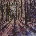 """""""Watercolor batik painting of forest at dawn"""" by RFoxWatercolors"""
