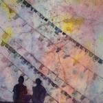 """Watercolor batik of prayer flags & people- Nepal"" by RFoxWatercolors"