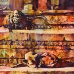 """Watercolor painting of dog & Hindu temple-Nepal"" by RFoxWatercolors"