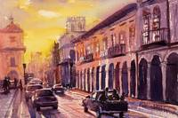 Watercolor painting of street- Cuenca, Ecuador