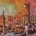 """""""Watercolor batik of Venice, Italy gondolas at dawn"""" by RFoxWatercolors"""