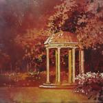 """""""Watercolor painting of Old Well on UNC campus"""" by RFoxWatercolors"""