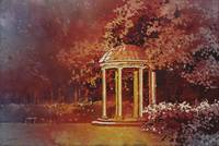 Watercolor painting of Old Well on UNC campus