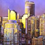 """""""Watercolor painting of skyscrapers- Vancouver, BC"""" by RFoxWatercolors"""