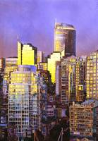Watercolor painting of skyscrapers- Vancouver, BC