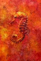 Watercolor batik painting of seahorse in ocean