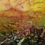 """Portland Watercolor Batik20x30"" by RFoxWatercolors"