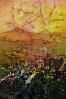 Watercolor batik of downtown Portland, Oregon