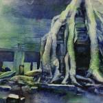 """""""Watercolor painting of Ta Prohm temple- Cambodia"""" by RFoxWatercolors"""