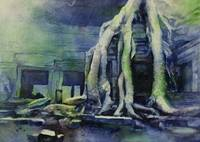 Watercolor painting of Ta Prohm temple- Cambodia