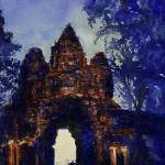 """""""Watercolor painting of East Gate- Angkor Wat, Camb"""" by RFoxWatercolors"""