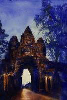 Watercolor painting of East Gate- Angkor Wat, Camb