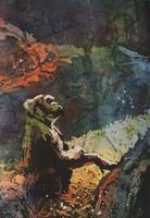 Watercolor batik of mountain gorilla at zoo