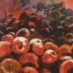"""Apples watercolor batik22x33"" by RFoxWatercolors"