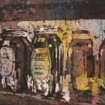 """Honey jars watercolor batik20x30"" by RFoxWatercolors"