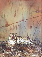 Watercolor painting of tiger resting at zoo