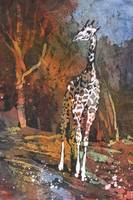 Watercolor batik of giraffe at zoo