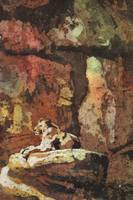 Watercolor batik painting of Lioness at zoo