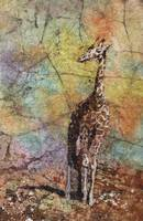 Watercolor batik of giraffe walking across tundra