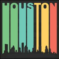 Vintage Houston Cityscape Art Prints & Posters by Kevin G