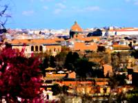 A view of Rome, Italy in terracotta shades