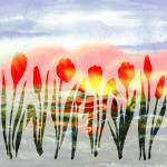 """Red Abstract Tulips Watercolor Silhouette"" by IrinaSztukowski"