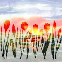 Red Abstract Tulips Watercolor Silhouette