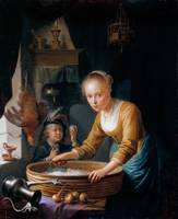 Gerard Dou, 1667, Girl Chopping Onions, 1646