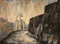 Watercolor painting of Mayan temple at Tikal