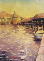 Watercolor painting of covered Bridge- Lucerne