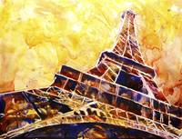 Watercolor painting of Eiffel Tower in Paris, Fran
