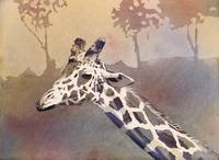 Watercolor painting of African giraffe at zoo