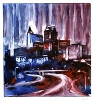Watercolor painting of Raleigh skyline at dawn- NC