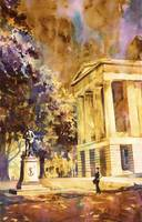 Watercolor painting of Capital building- Raleigh,