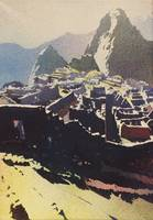 Watercolor painting of Machu Pichu ruins in Peru