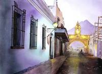 Watercolor painting of Arch- Antigua, Guatemala