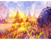 Watercolor painting of ruins in Bagan, Myanmar
