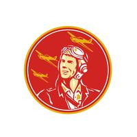 World War 2 Pilot Airman Fighter Plane Circle Retr
