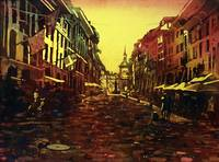Watercolor of street at dawn in Bern, Switzerland