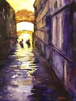 Watercolor painting of Bridge of Sighs- Venice, It