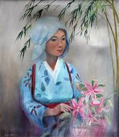 Asian Lady with Oriental Lilies