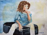 Sitting Curly Hair Girl