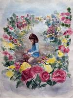 Seated Girl in Flower Garden
