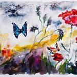 """Panoramic Poppies and Butterflies Watercolor"" by GinetteCallaway"