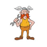 Viking Repairman Standing Spanner Cartoon