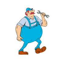 German Repairman Marching Spanner Cartoon