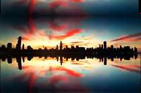 chicago red sky large pixels