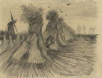 Stooks and a Mill Nuenen, August 1885 Vincent van