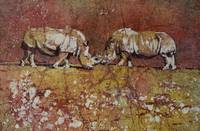 Rhinoceroses watercolor batik painting
